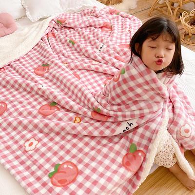 2020新款卡通羊羔绒毯 150*200cm 桃子花语