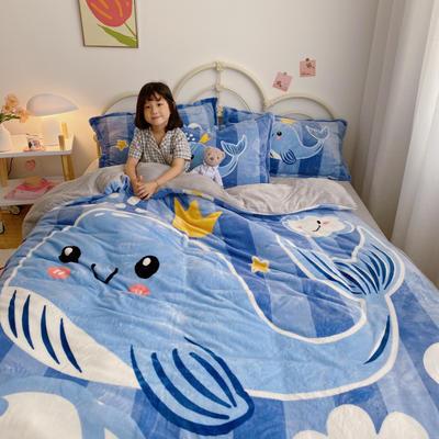 2020新款大阪法莱绒卡通四件套 1.5m床单款四件套 天空鲸