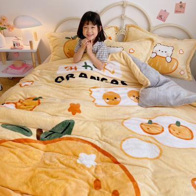 2020新款大阪法莱绒卡通四件套 1.5m床单款四件套 元气橘味