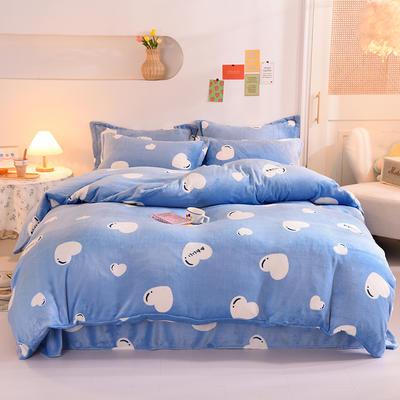 2020新款牛奶绒四件套 1.8m床单款四件套 蓝色爱心