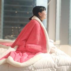 2018新品法莱绒羊羔绒双层毛毯 100*120cm 粉色