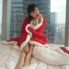 2018新品法莱绒羊羔绒双层毛毯 100*120cm 红色