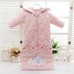 2018新款有机彩棉带袖睡袋 粉色