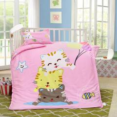 2018新款活性大版婴童幼儿单品被套及被芯 棉花被芯2斤 甜心猫猫