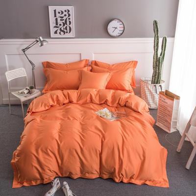 梦可莱家居 全棉贡缎纯色四件套 标准1.5*1.8m床 橙橘