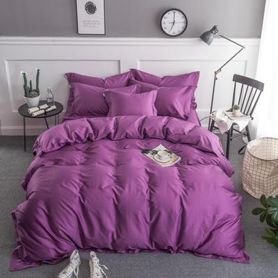 梦可莱家居 全棉贡缎纯色四件套 标准1.5*1.8m床 魅紫