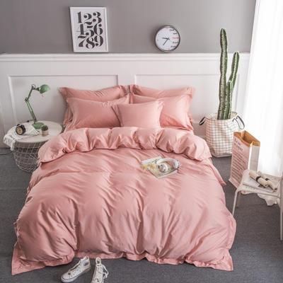 梦可莱家居 全棉贡缎纯色四件套 标准1.5*1.8m床 藕粉