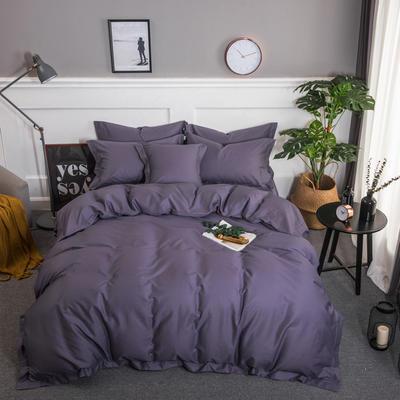 梦可莱家居 全棉贡缎纯色四件套 标准1.5*1.8m床 烟紫