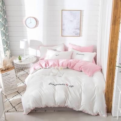 梦可莱家居 全棉水洗棉小清新系列四件套 1.2m床床单款 舒适生活-白粉