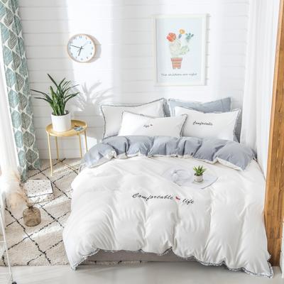 梦可莱家居 全棉水洗棉小清新系列四件套 1.2m床床单款 舒适生活-白灰