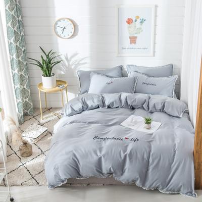 梦可莱家居 全棉水洗棉小清新系列四件套 1.2m床床单款 舒适生活-纯灰