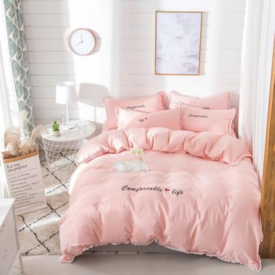梦可莱家居 全棉水洗棉小清新系列四件套 1.2m床床单款 舒适生活-纯玉