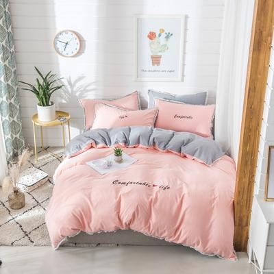梦可莱家居 全棉水洗棉小清新系列四件套 1.2m床床单款 舒适生活-玉灰
