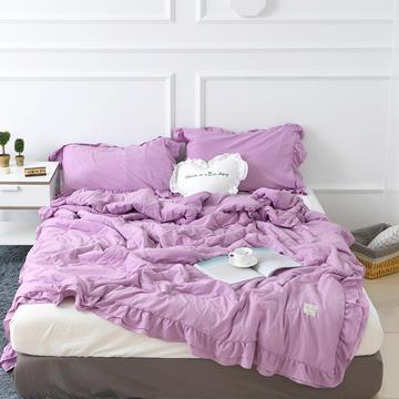 梦可莱家居 水洗棉韩版双层花边夏被 枕套/对 紫色