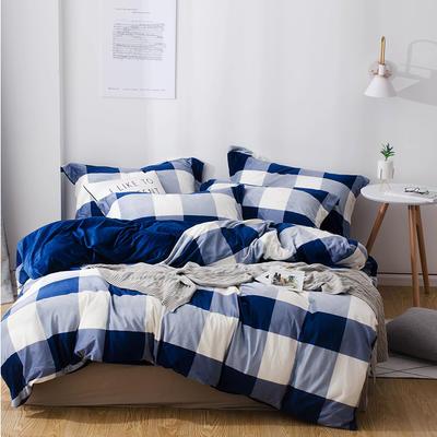 2018新款-丽丝绒保暖四件套 1.5m-1.8m床(床单款四件套) 大格子-蓝