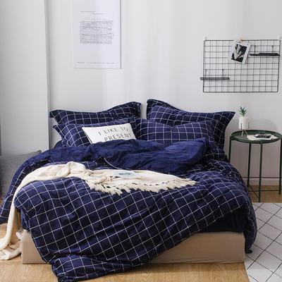 2018新款-丽丝绒保暖四件套 1.5m-1.8m床(床单款四件套) 风尚-蓝
