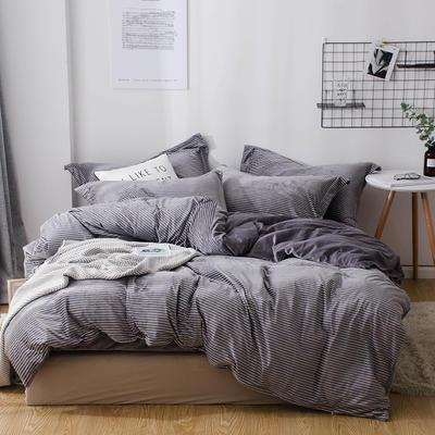 2018新款-丽丝绒保暖四件套 1.2m-1.35m床(床单款三件套) 灰色细条