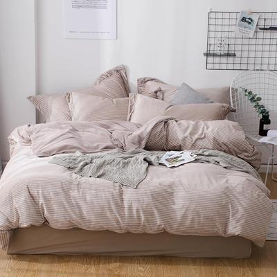 2018新款-丽丝绒保暖四件套 1.5m-1.8m床(床单款四件套) 驼色细条