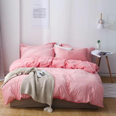 2018新款-丽丝绒保暖四件套 1.5m-1.8m床(床单款四件套) 小格子-粉