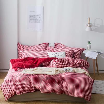 2018新款-丽丝绒保暖四件套 1.5m-1.8m床(床单款四件套) 小格子-红