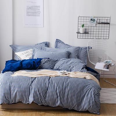 2018新款-丽丝绒保暖四件套 1.5m-1.8m床(床单款四件套) 小格子-蓝
