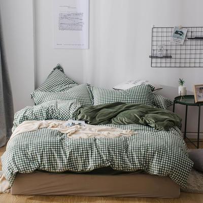 2018新款-丽丝绒保暖四件套 1.5m-1.8m床(床单款四件套) 小格子-绿