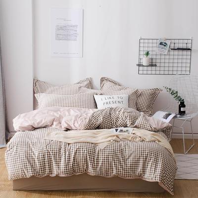 2018新款-丽丝绒保暖四件套 1.5m-1.8m床(床单款四件套) 小格子-米色