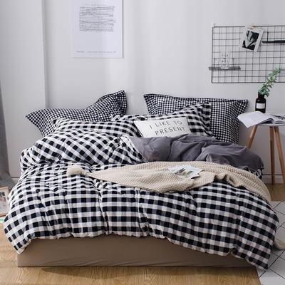 2018新款-丽丝绒保暖四件套 1.2m-1.35m床(床单款三件套) 中格子-黑白