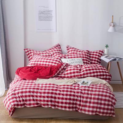 2018新款-丽丝绒保暖四件套 1.5m-1.8m床(床单款四件套) 中格子-枣红
