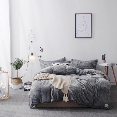 2018新款-魔法绒纯色双拼四件套 1.8m(6英尺)床 安妮-灰