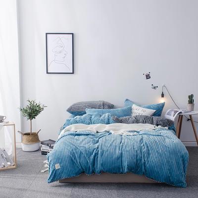 2018新款-魔法绒纯色双拼四件套 1.8m(6英尺)床 安妮-蓝灰