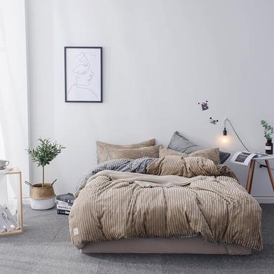 2018新款-魔法绒纯色双拼四件套 1.8m(6英尺)床 安妮-驼灰