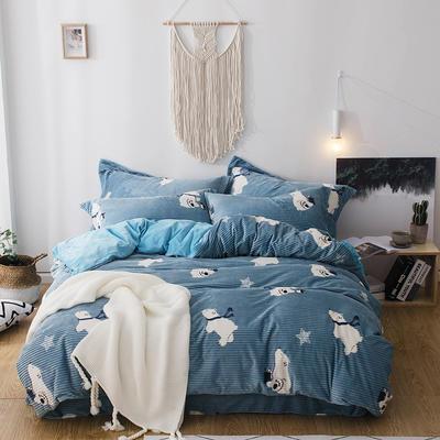 2018新款-魔法绒印花四件套 1.2m(4英尺)床单款三件套 北极熊蓝