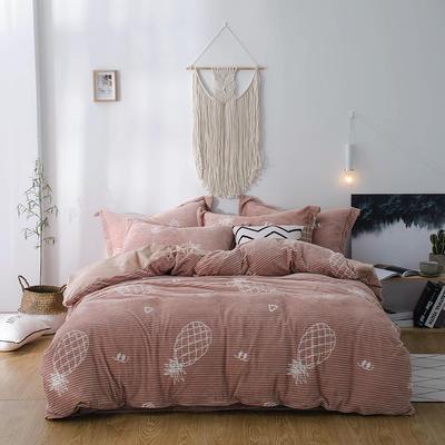 2018新款-魔法绒印花四件套 1.35m(4.5英尺)床单款三件套 菠萝元素咖