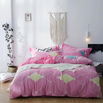 2018新款-魔法绒印花四件套 1.8m(6英尺)床 格调色彩粉