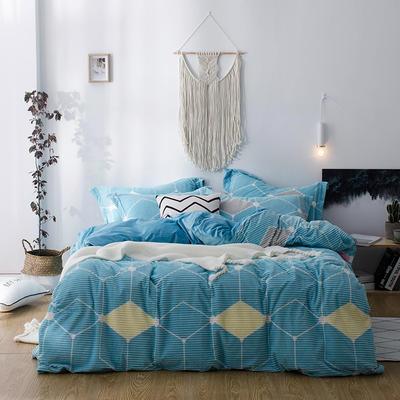 2018新款-魔法绒印花四件套 1.8m(6英尺)床 格调色彩-蓝