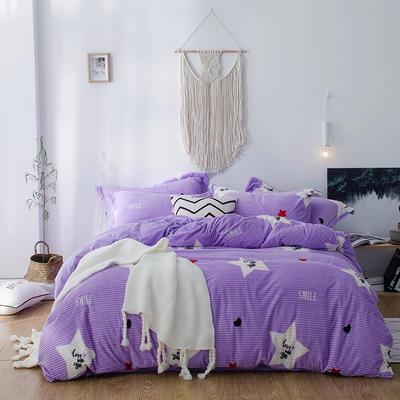 2018新款-魔法绒印花四件套 1.35m(4.5英尺)床单款三件套 时尚星光紫