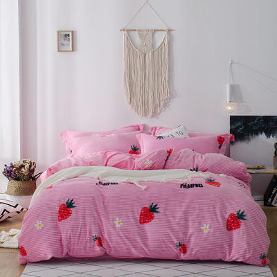 2018新款-魔法绒印花四件套 1.2m(4英尺)床单款三件套 甜心草莓粉