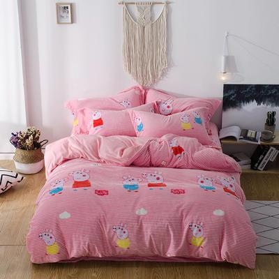 2018新款-魔法绒印花四件套 1.2m(4英尺)床单款三件套 小猪佩奇粉