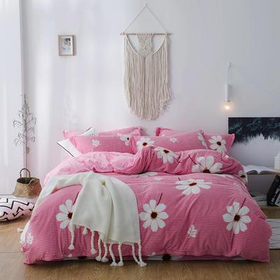 2018新款-魔法绒印花四件套 1.8m(6英尺)床 一览芳华粉
