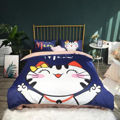 2018新款-宝宝绒数码印花四件套 1.5m(5英尺)床 开心猫蓝