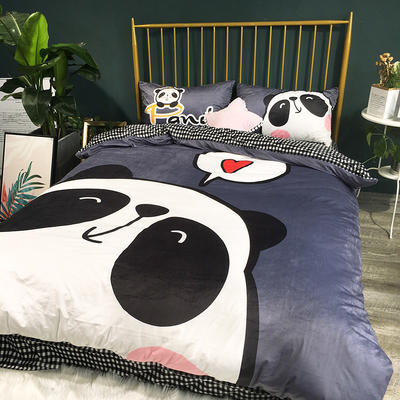 2018新款-宝宝绒数码印花四件套 1.5m(5英尺)床 熊猫