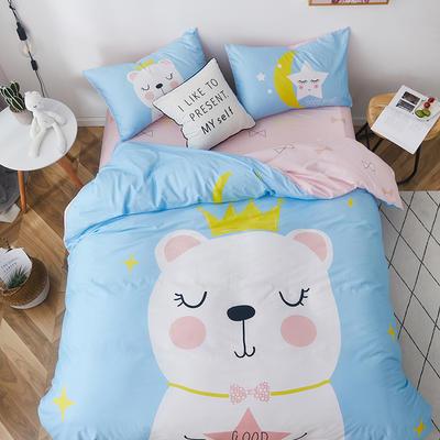 2019新款-全棉数码印花四件套 三件套1.2m(4英尺)床 宝贝熊