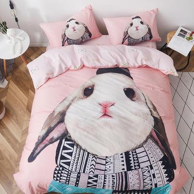 2019新款-全棉数码印花四件套 三件套1.2m(4英尺)床 呆萌兔粉