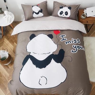 2019新款-全棉数码印花四件套 三件套1.2m(4英尺)床 思念小熊