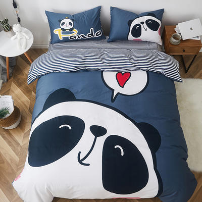 2019新款-全棉数码印花四件套 三件套1.2m(4英尺)床 熊猫
