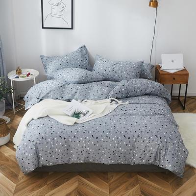 2019新款-全棉小清新系列四件套 三件套1.2m(4英尺)床 彩石蓝