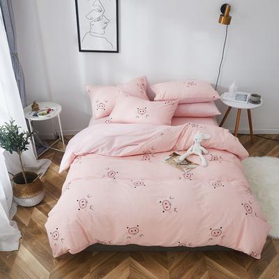 2019新款-全棉小清新系列四件套 三件套1.2m(4英尺)床 嘟嘟猪