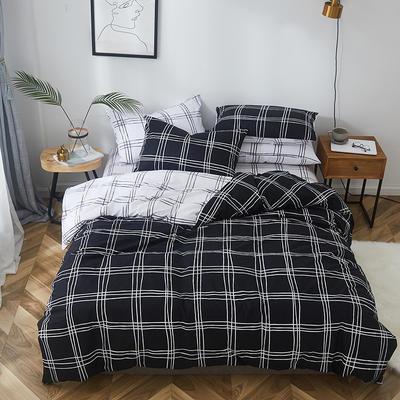2019新款-全棉小清新系列四件套 三件套1.2m(4英尺)床 梵诺克黑