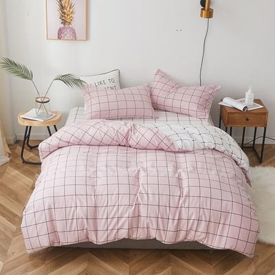 2019新款-全棉小清新系列四件套 三件套1.2m(4英尺)床 简单生活粉